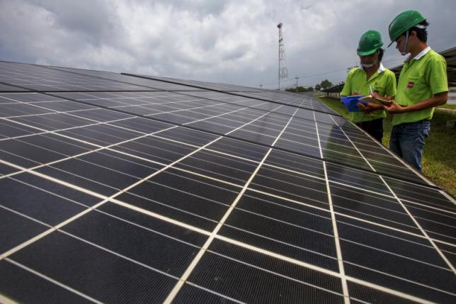 Employees of a solar farm company take notes between panels at the farm in Nakorn Ratchasima province, Thailand, October 3, 2013. REUTERS/Athit Perawongmetha