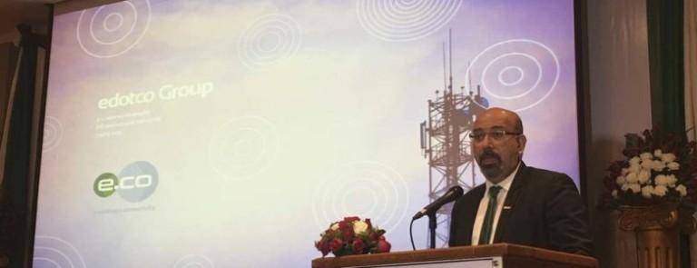 Suresh Sidhu, CEO of edotco Group giving an opening remark in Yangon.