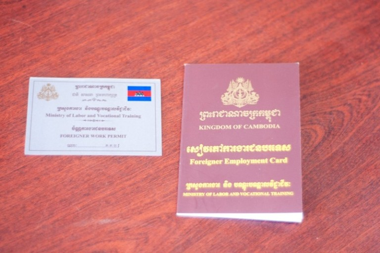 The Work Permit and Foreigner Employment Card that every foreigner working in Cambodia should have. (Photo: Khmer Times)