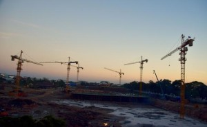 Cranes tower over the construction site for one of about 20 malls going up in Vientiane.