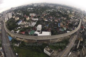 The aerial view of the Purple Line in Bang Yai area of Nonthaburi.