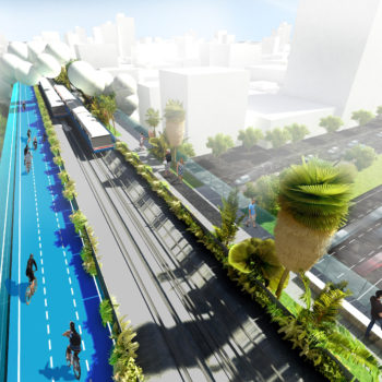 """The Cycle lanes 'sail"""" above all intersections and traffic lights providing unobstructed travel access through the city center and beyond. The lanes are actually no wider than the existing train stations which confirms with local lighting laws and also means no buildings will have to be demolished during construction."""