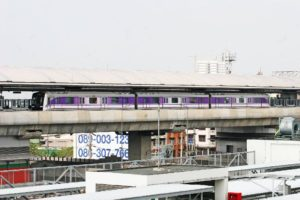 A test train runs between the MRT Khlong Bang Phai and Talad Bang Yai stations on March 25 for the new Purple Line.